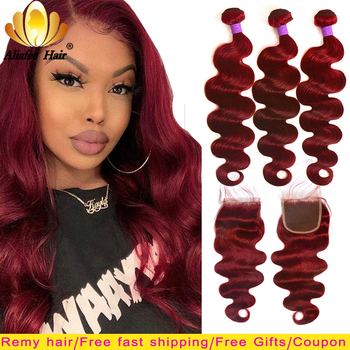 Ali afee Hair #99 Brazilian Body Wave Colored Bundles With Closure Remy Burgundy 100% Human Extension - discount item  35% OFF Human Hair (For Black)
