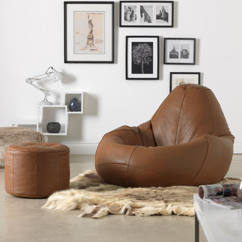 Ink Craft Leatherette  Brown Combo Retro Classic Bean Bag Chair Cover Only