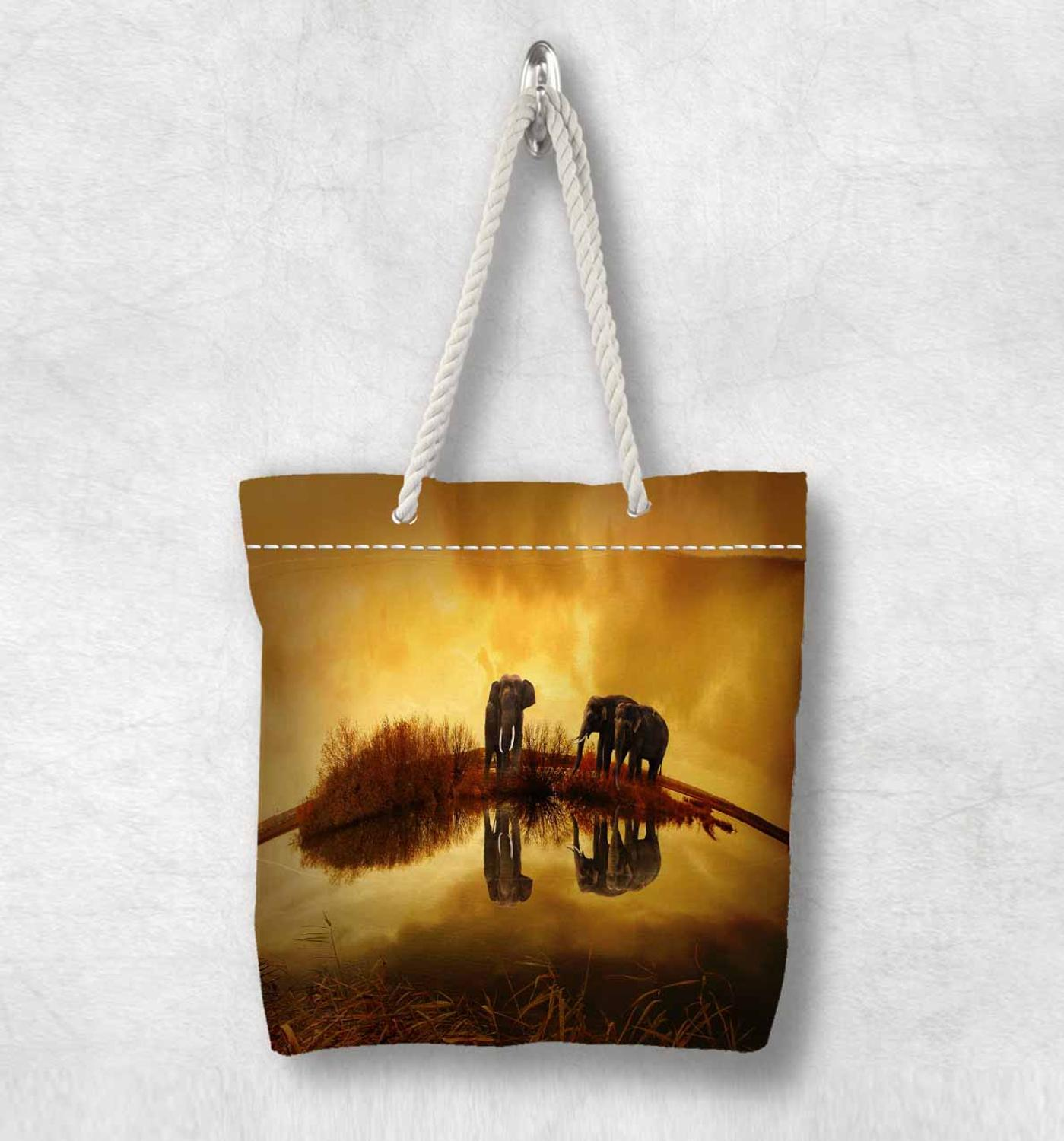 Else African Yellow Elephants Sun Set New Fashion White Rope Handle Canvas Bag Cotton Canvas Zippered Tote Bag Shoulder Bag