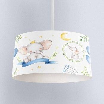 Else Blue Balloon Little Elephant Yellow Star Print Fabric Kids Chandelier Lamp Drum Lampshade Floor Ceiling Pendant Light Shade