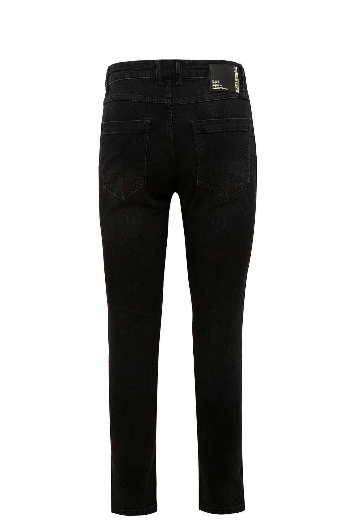 Defacto Man Casual Zwart Denim Jeans Mannen Lente Fit Lichaam Jeans Mannen Denim Bottoms Mannen Basic kleur Trousers-N7874AZ20SP