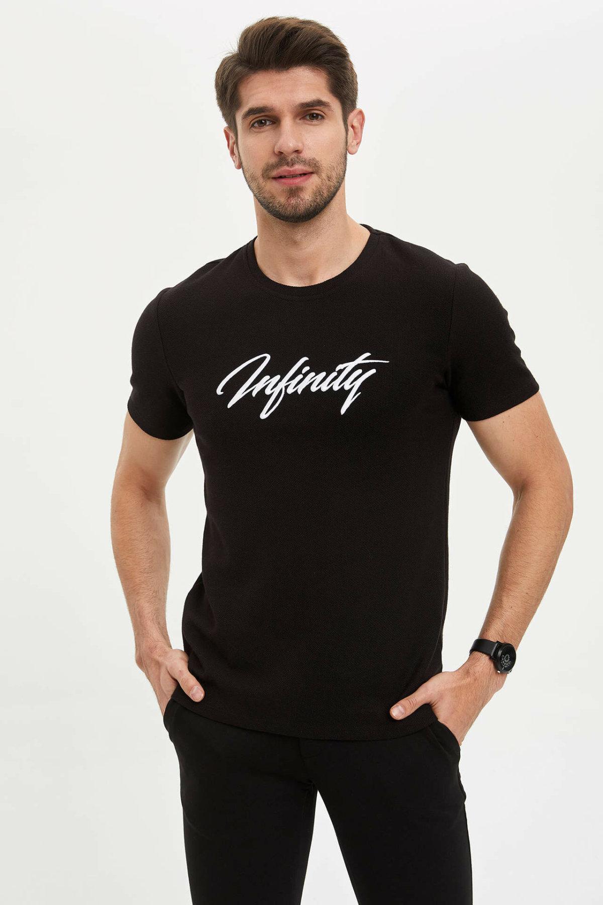 DeFacto Man Pure Color T-Shirt Men Black Top Tees Men Casual T-Shirt Men Letter Short Sleeve Tshirt Tees-M7913AZ20SP