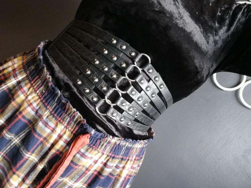 Wide Waist Elastic 5 Straps PU Belt photo review
