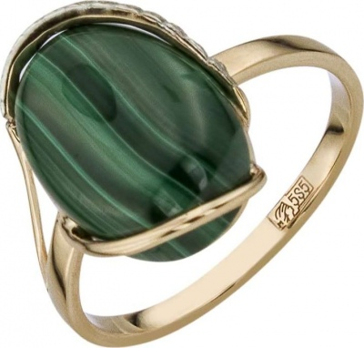 Aloris Ring With Cubic Zirconia And Malachite In Red Gold
