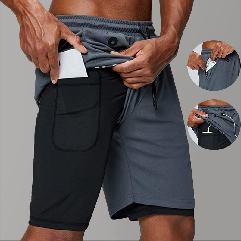 2 In 1 Summer Gym Fitness Mens Shorts Music Mesh Ployster Grey Short Homme Sport Running Shorts For Men Workout Joggers Training