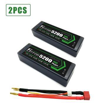 GTFDR 2PCS 2s Lipo Battery 7.4V 100C 5200mAh Hard Case Lipo Batteries Pack with 4mm Bullet  for 1/8 1/10 RC Car Model Trax