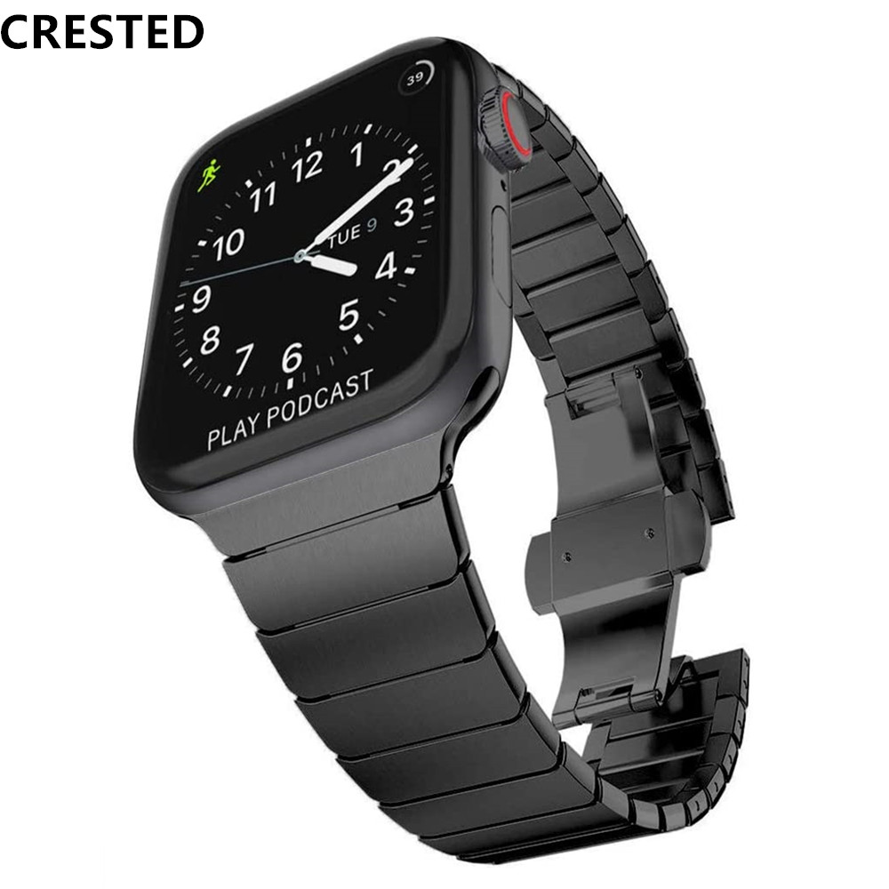 Stainless Steel Strap For Apple Watch Band 44 Mm/42mm 40mm 38mm Luxury Link Bracelet Iwatch Apple Watch Series 5 4 3 44mm Band