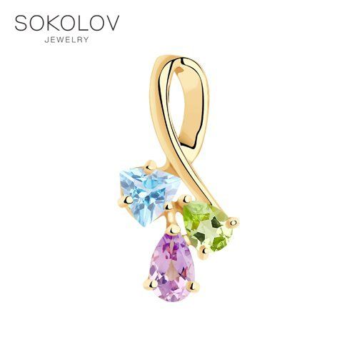 Pendant SOKOLOV Gold With Precious Inserts Fashion Jewelry 585 Women's Male