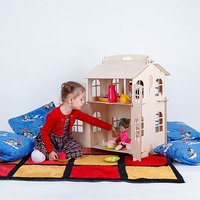Poppen Home Speelgoed huis DIY Schilderen Bouw Board Onderwijs Speelgoed Kinderen Geschenken pop accessoire blok deel puzzel DFB-2d