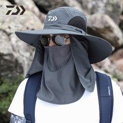 2021 새로운 남자 Daiwa 낚시 모자 야외 낚시 모자 자외선 보호 조절 통기성 양산 솔리드 캐주얼 열 낚시 모자