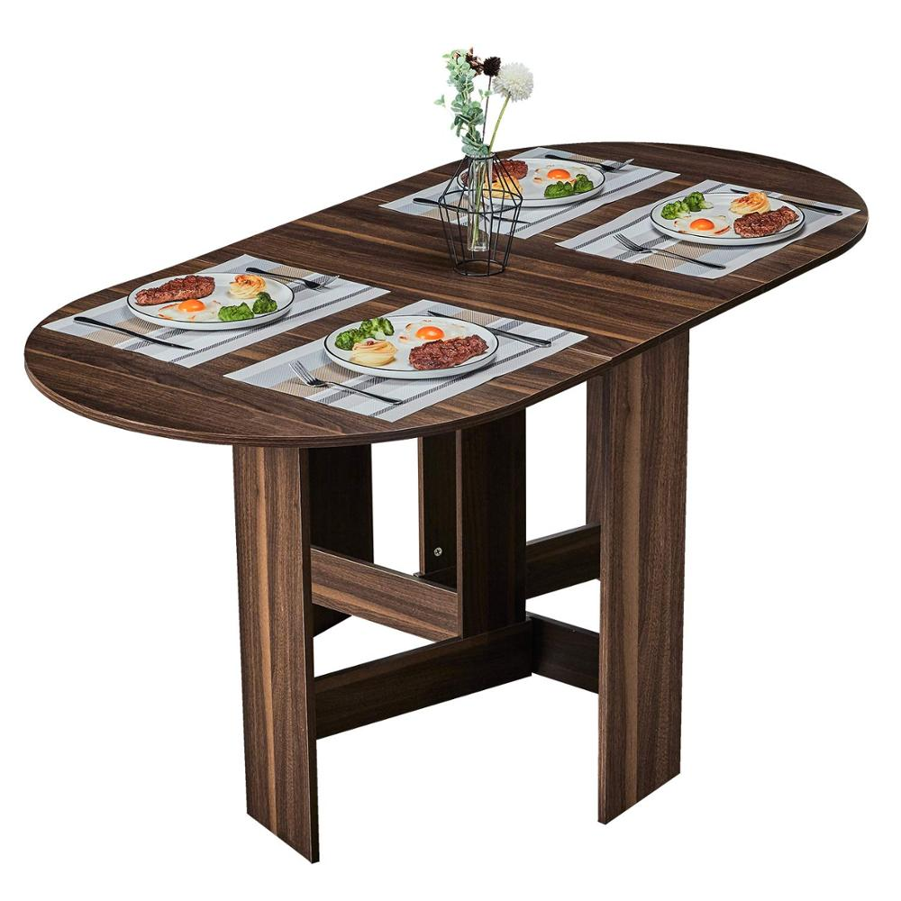 - Folding Dining Table, Extendable Dinner Table With Wood Grain And
