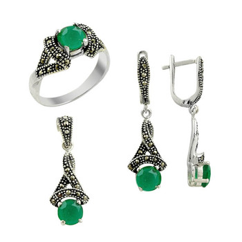 Silver 925 Sterling Marcasite Cubic Zirconia Round Set
