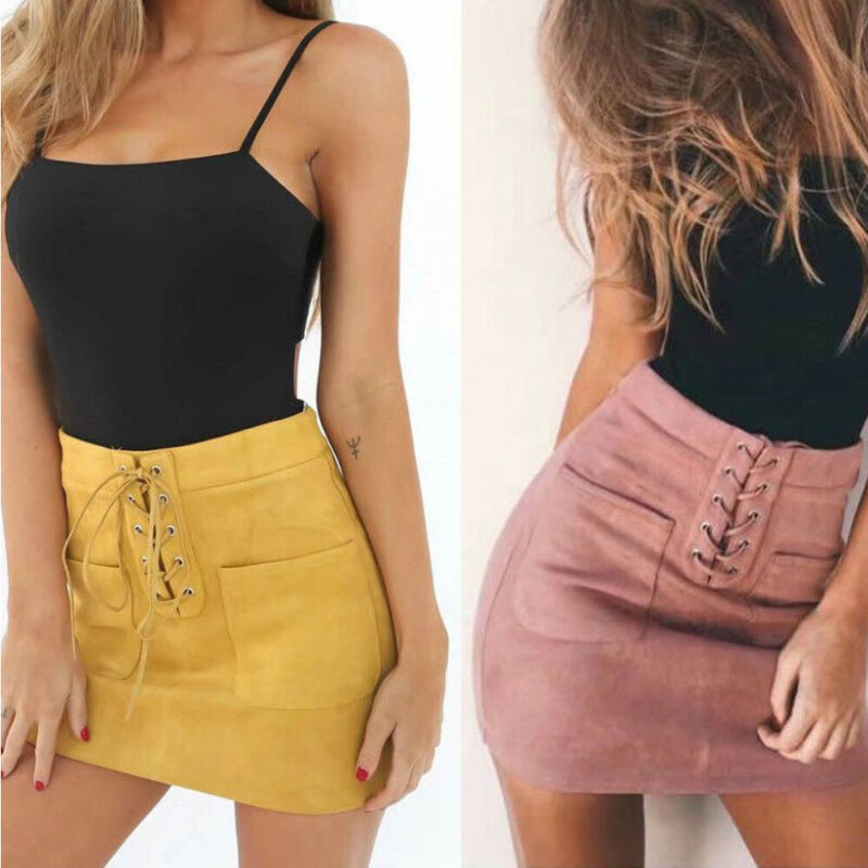 New fashion Women Ladies High Waist Pencil Skirts button lace patchwork sexy Bodycon Suede Leather split party casual Mini Skirt 45