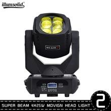 Dmxパーティーライトスーパービーム4 × 25ワットled移動ヘッドライトステージプロの照明2ピース/ロット