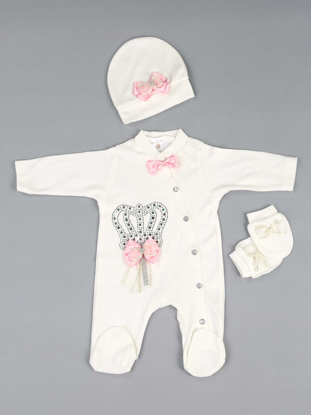 083-5181-021 Pembe Prenses Kız Bebek 3 lü Tulum Seti (1)