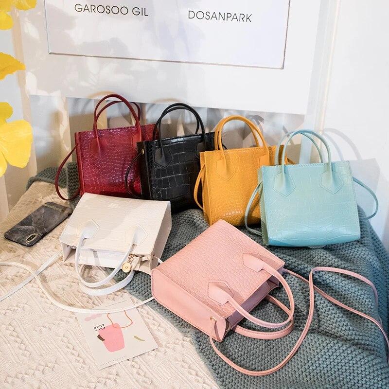 Тренд моды 2020, женские сумки через плечо с крокодиловым узором, винтажная Классическая однотонная стильная сумка на плечо, стильная сумка-тоут для женщин