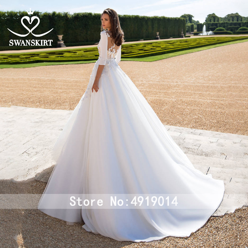 Image 5 - Satin 2 In 1 Appliques Wedding Dress 2019 Swanskirt Detachable Jacket Beaded A Line Customized Bride gown Robe De Mariage I183-in Wedding Dresses from Weddings & Events