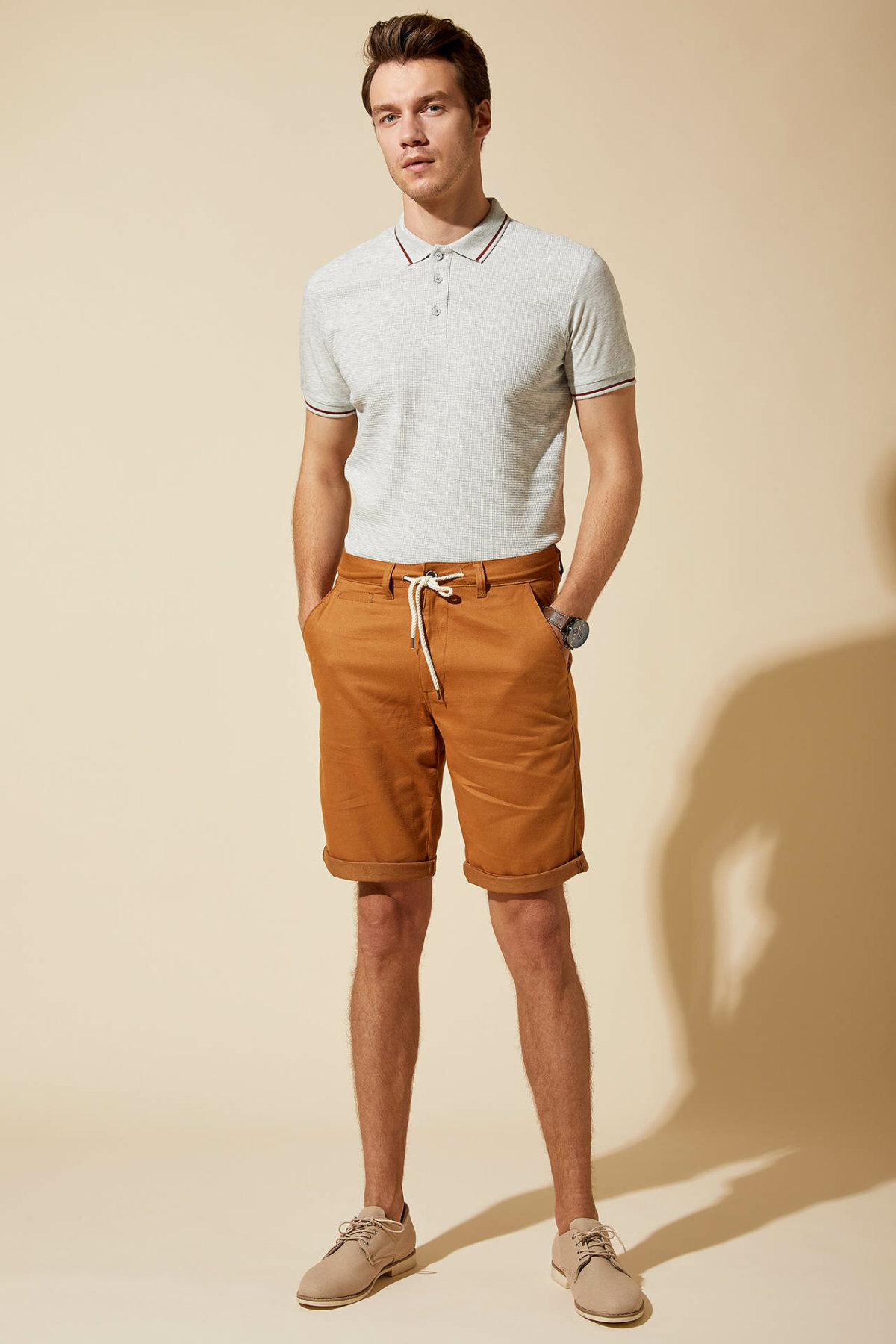 DeFacto Man Summer Stylish Short Bottoms Men Casual Bottoms Shorts Male Lace-up Loose Bermuda Shorts-L5727AZ19SM