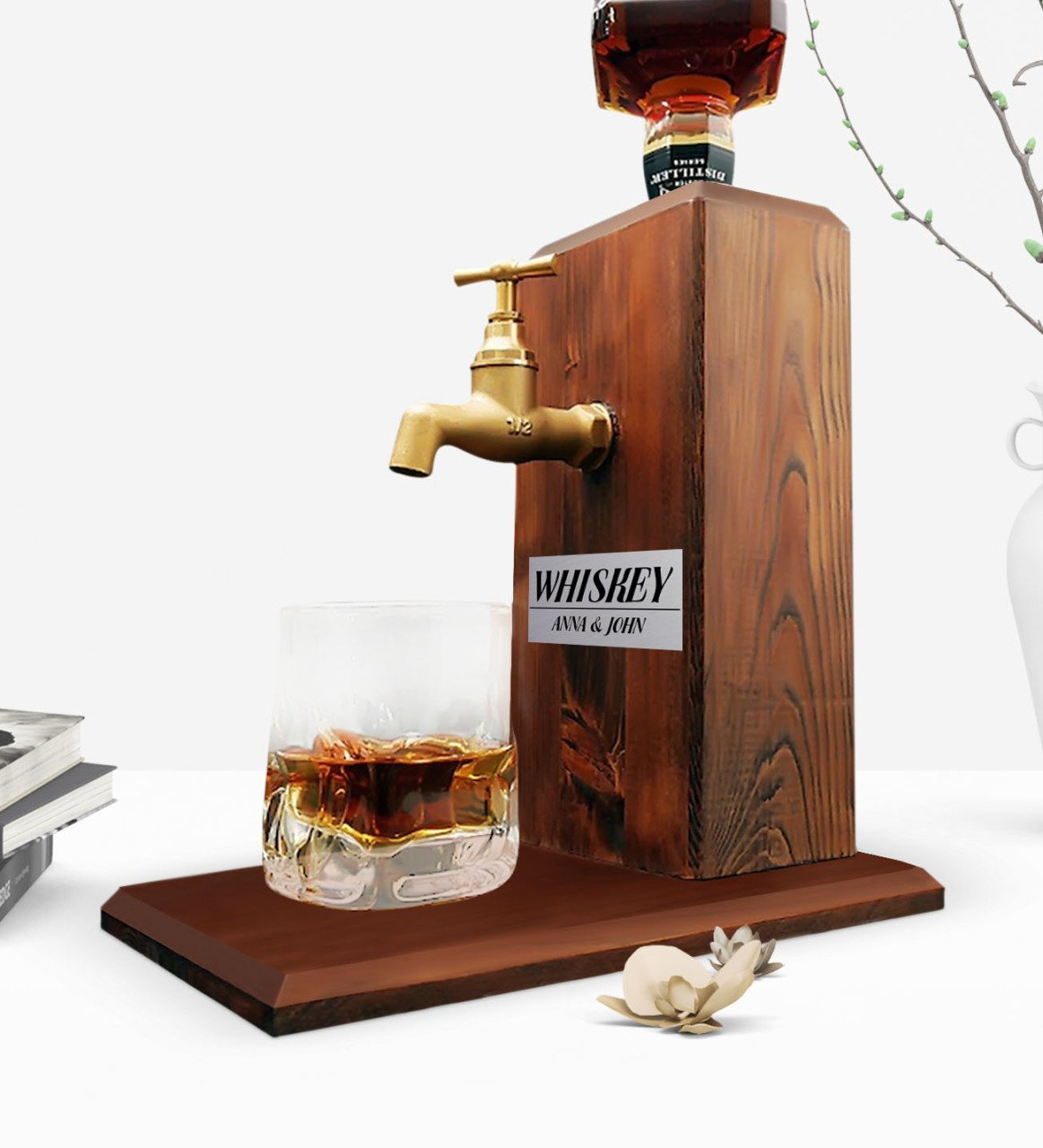 Custom Wooden Natural Whiskey Stand With Tap-Walnut