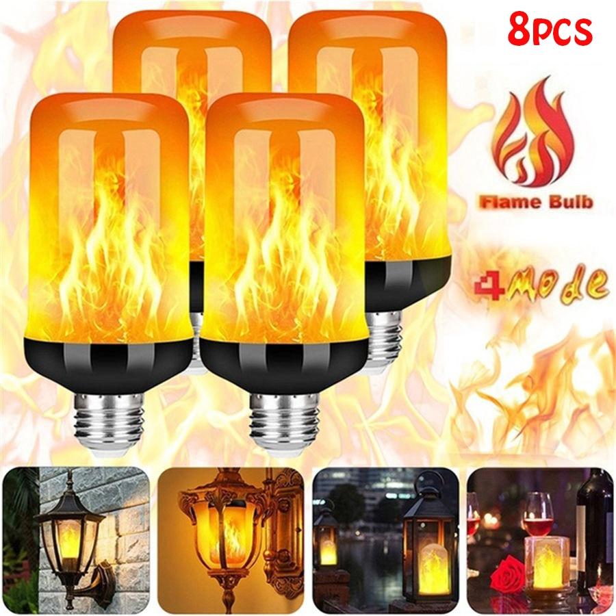 LED Flame Effect Light Bulb 4 Modes Flickering Emulation Home Garden Lamp Christmas Halloween Decor Light E27 Flame Bulbs Lights