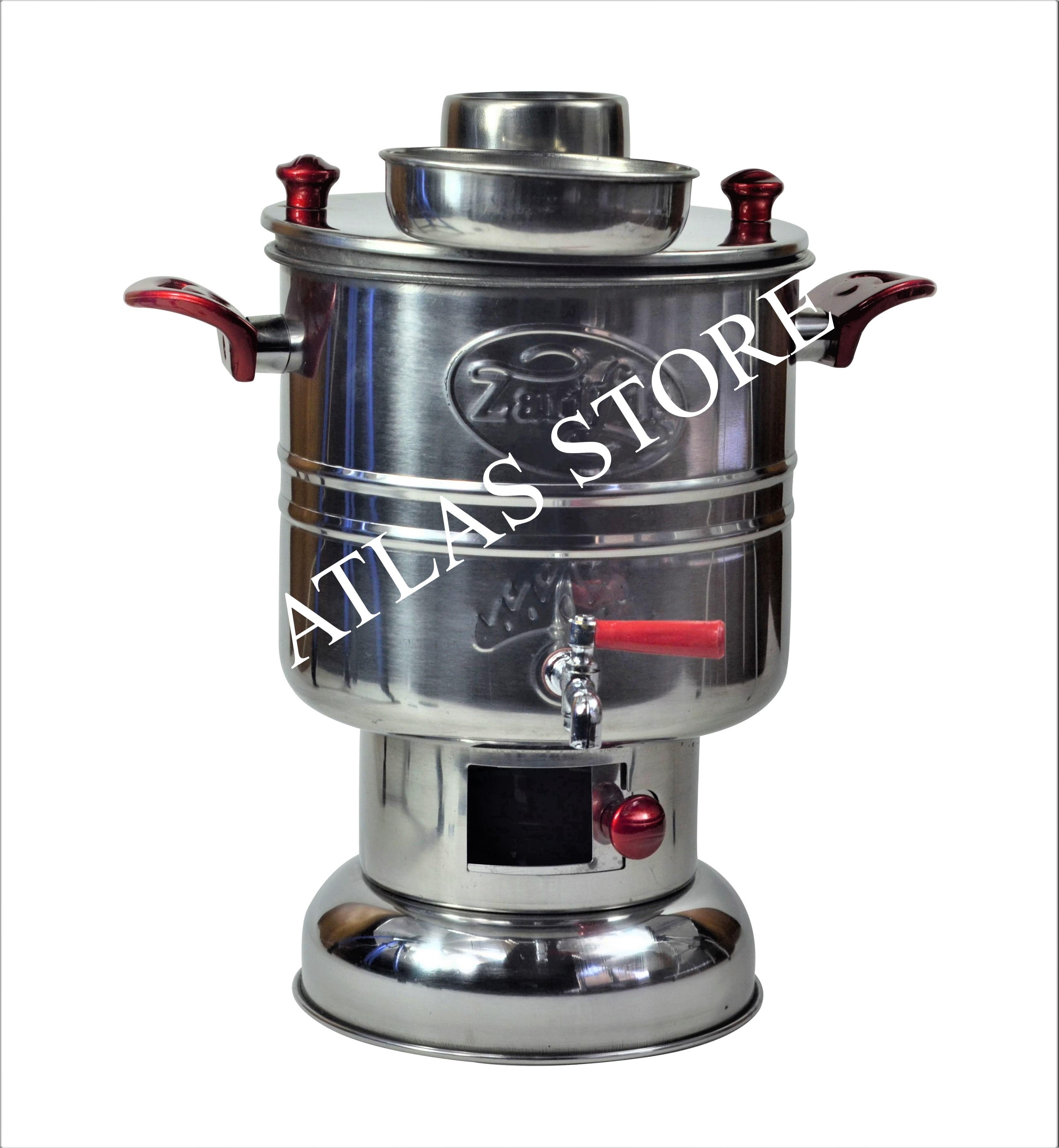 Wood Coal Stove Camp Steel Samovar  With 2 HandlesTea Coffee Maker With Charcoal