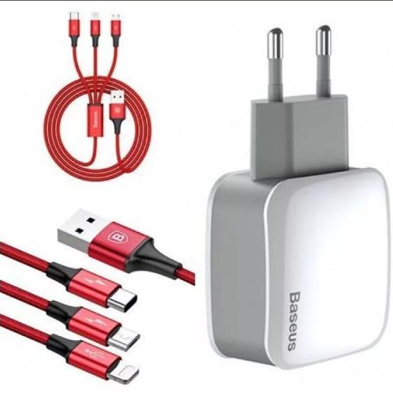СЗУ с 2-мя USB выходами + USB кабель 3в1 microUSB/8pin на iPhone 5/6/7/type-c BASEUS TZCL-D92 (белый + красный)