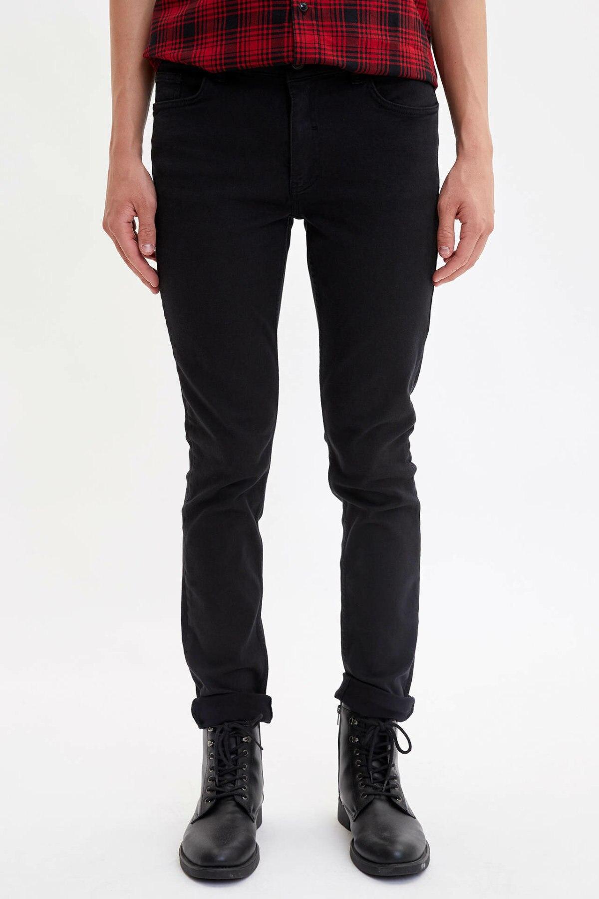 DeFacto Man Casual Black Long Pants Men Skinny Fit Bottoms Male Mid-waist Pants Trousers-L3297AZ19AU
