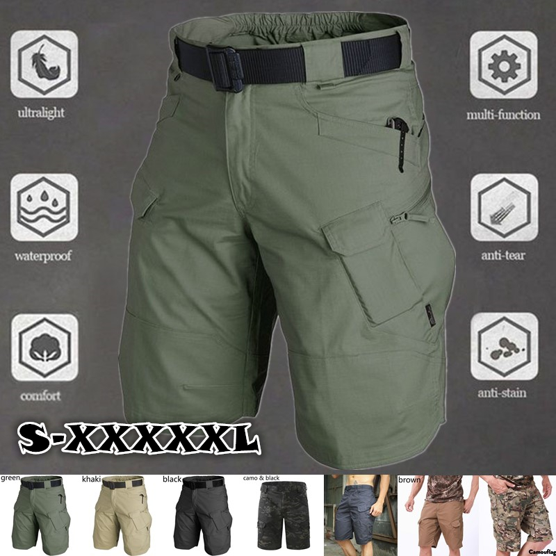 Summer Waterproof Mens Tactical Camouflage Shorts Military Multi Pocket Breathable Quick-dry sweatpants Casual Short Cargo Pants