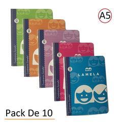 Bloku Espiral Cuaderno Tamaño A5 40 Hojas  5 MM  colores Surtidos (Paquete DE 10 Libretas)|Zeszyty|Artykuły biurowe i szkolne -