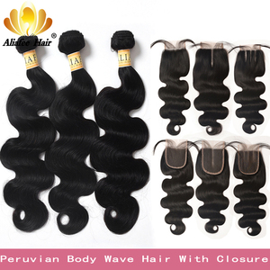 Peruvian Body Wave Hair 3 Bundles Non-Remy Human Hair Extensions With 4*4 Lace Closure Double Weft Weave Bundles With Closure(China)
