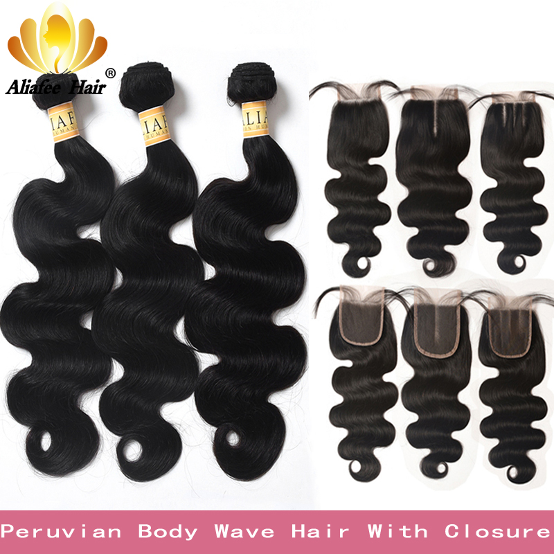 Peruvian Body Wave Hair 3 Bundles Non-Remy Human Hair Extensions With 4*4 Lace Closure Double Weft Weave Bundles With Closure