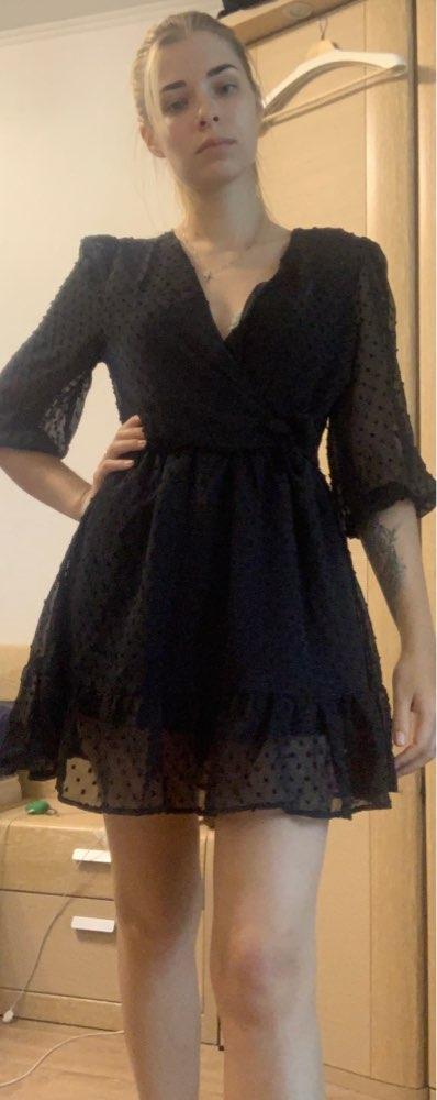 Aachoae 2020 Summer Women Ruffles Lace Chiffon Dress Boho Mini Beach Dress Three Quarter Sleeve Ladies Party Dresses Vestido|Dresses|   - AliExpress