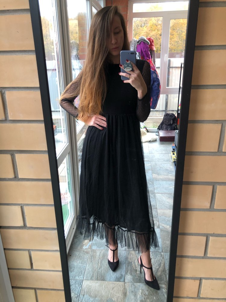 Fit And Flare Mesh Overlay Ruffle Hem Dress Women Casual Summer Round Neck Long Sleeve High Waist Dresses photo review