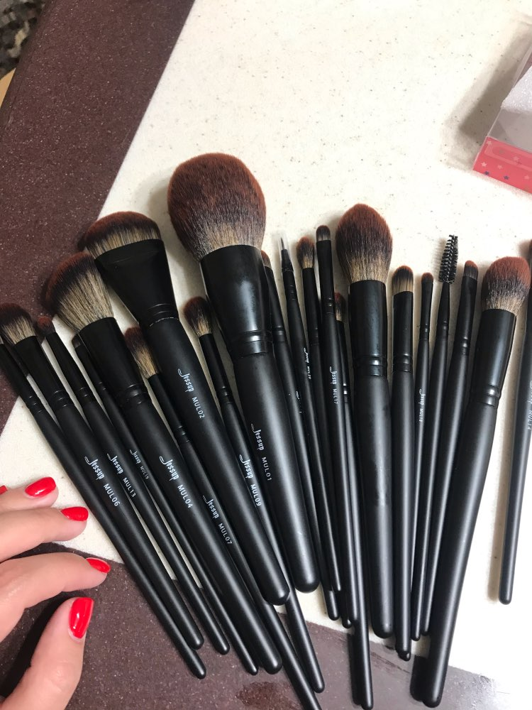 Jessup New Arrival Makeup brushes brushes Phantom Black 3-21pcs Foundation brush Powder Concealer Eyeshadow Synthetic hair reviews №1 49076