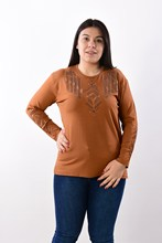 Women's Large Size Fronting Stone Taba Blouse 2019