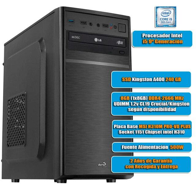 Desktop computer BASIC Intel I5-9400 8GB DDR4 hard disk 240GB SSD desktop PC, USB 3.0, HDMI, desktop PC, board games