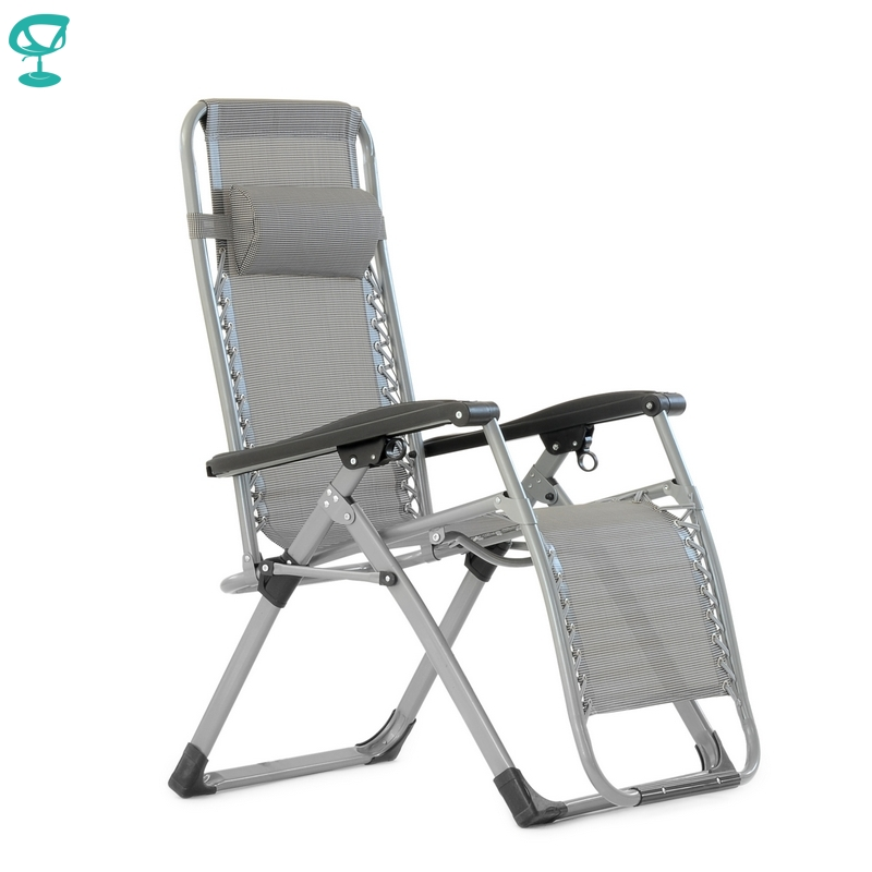 95644 Barneo PFC-17 Gray Folding Reclining Garden Deck Chair Sturdy Tubular Steel Frame HardWearing Textoline Fabric Adjustable