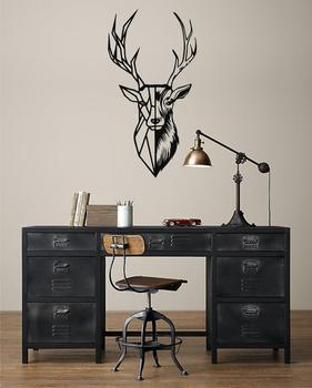 Metal Deer Head Natural, Metal Wall Art, Metal Deer Silhouette, Metal Wall Decor, Home Office Living Room Decoration, Metal Sign фото