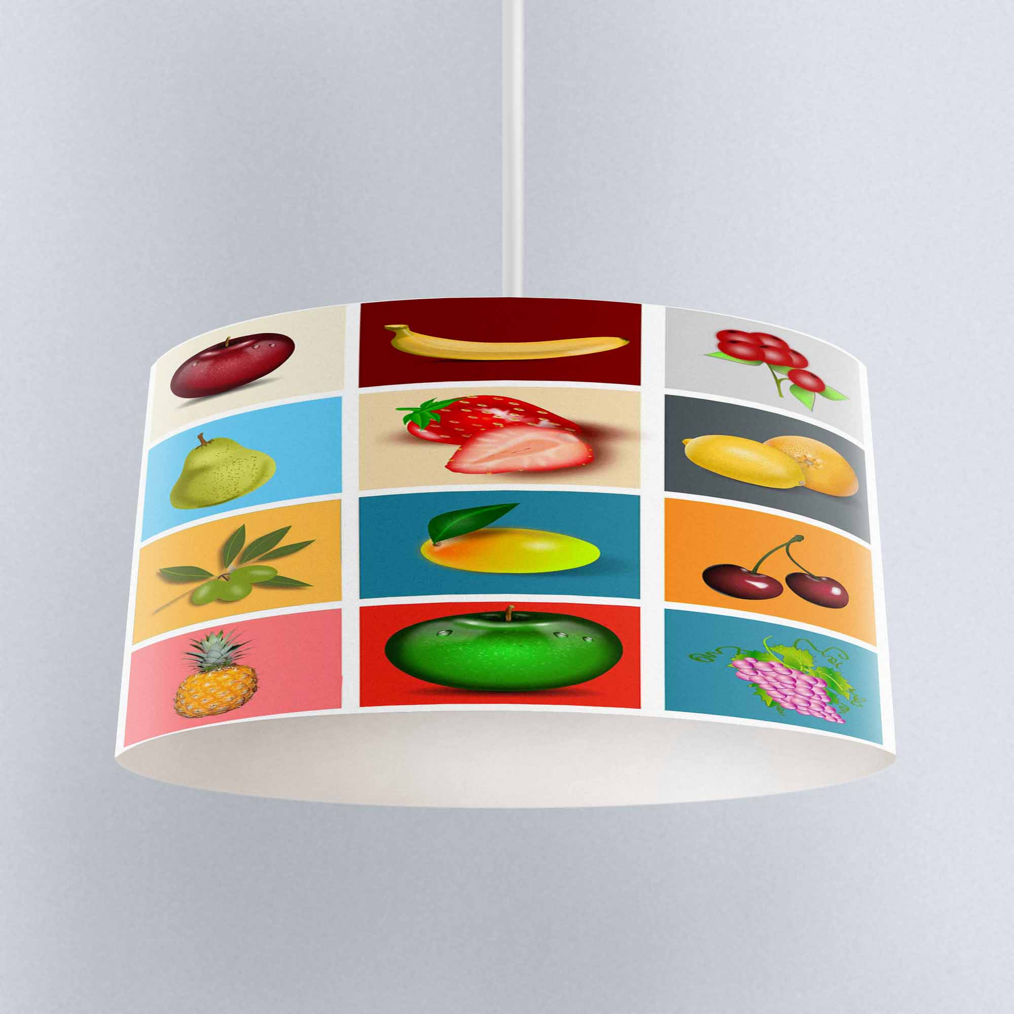 Else Patchwork Colored Fruits Printed Fabric Kitchen Chandelier Lamp Drum Lampshade Floor Ceiling Pendant Light Shade|Lamp Covers & Shades| |  - title=