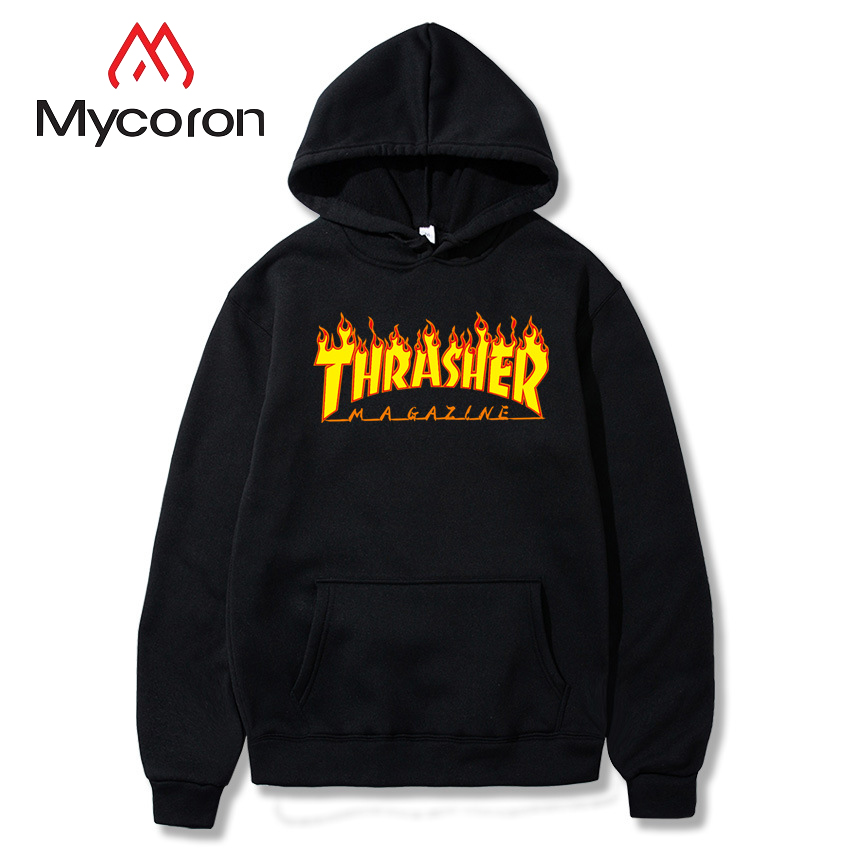 MYCORON Hip Hop Brand Hoodies Casual Sweatshirt High Quality Thrasher Letter Printing Sweatshirts Male Fashion hoodie moleton