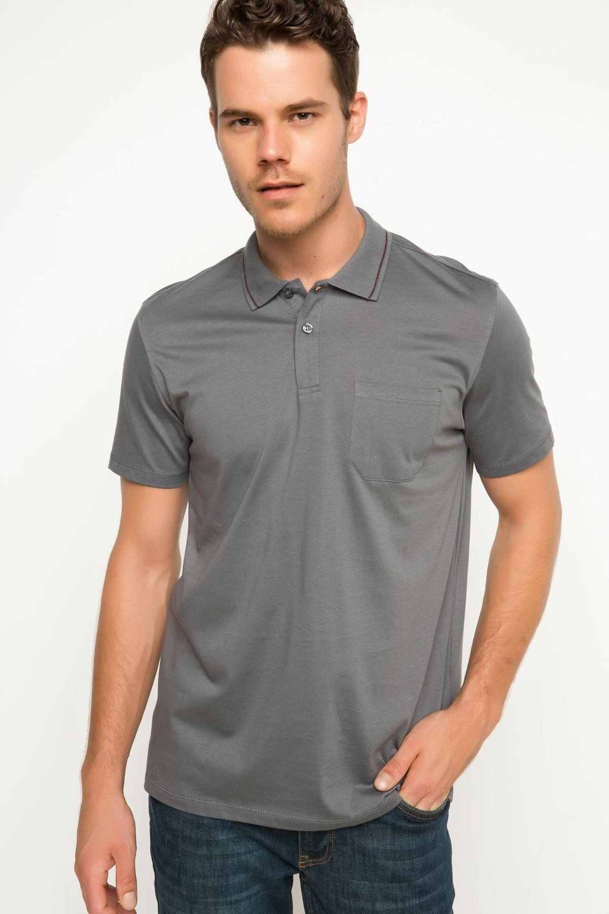 DeFacto Fashion Silver Grey Man Summer Top Tees Turn-down Collar Knitted Pocket Formal Polo Cotton Shirt -G9111AZ17SM