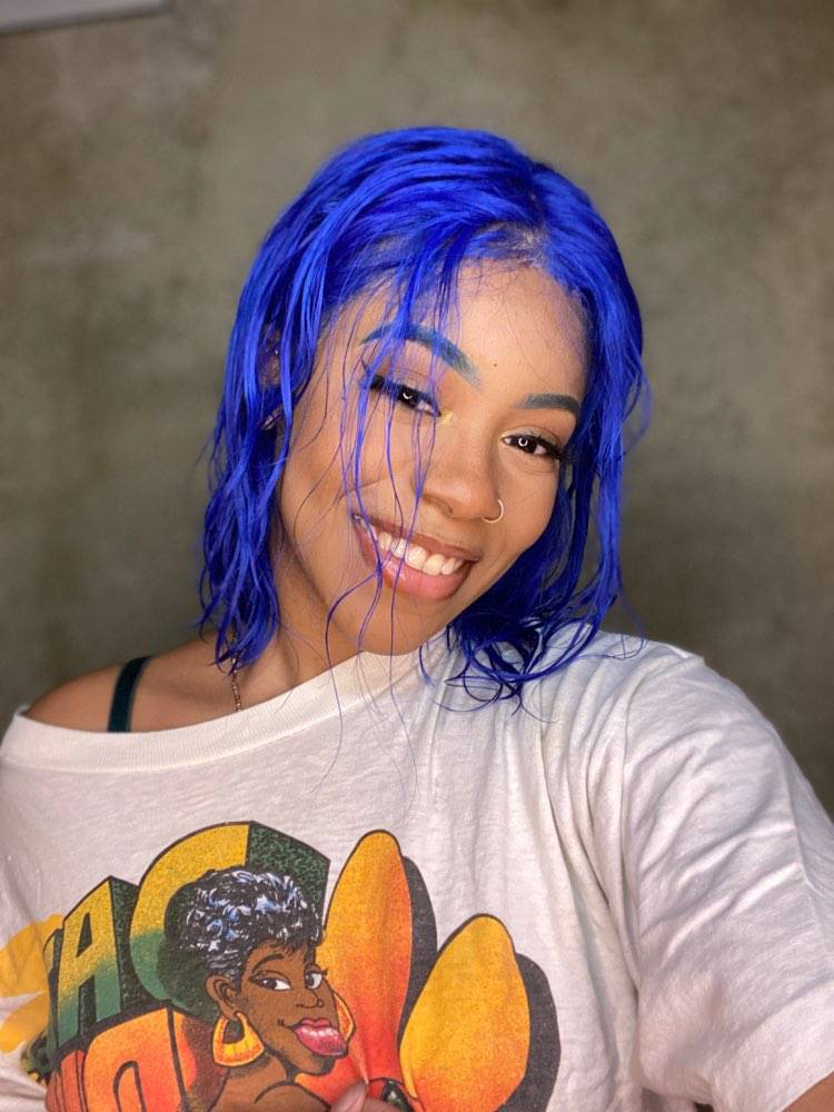 Blue Color 150% Density Lace Front Human Hair Wigs Pre Plucked Brazilian Remy Hair photo review