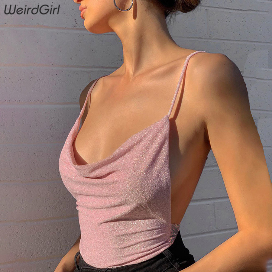 Weirdgirl Women Pink Sexy Bodysuits Backless Sleeveless Sling Loose Rompers Slim Party Club Stretchy 2020 New Spring Jumpsuits