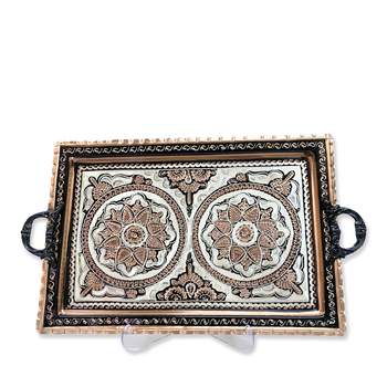Turkish Tea Coffee Tray Handcrafted Copper Tray Chinese Motif Traditional Gift Decorative Wall Flat Tray