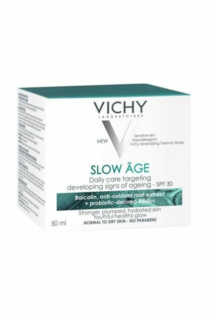 Vichy Slow Age Day Cream 50ml SPF30, Care Cream Containing Probiotic Derivative Hypoallergenic Anti Ageing