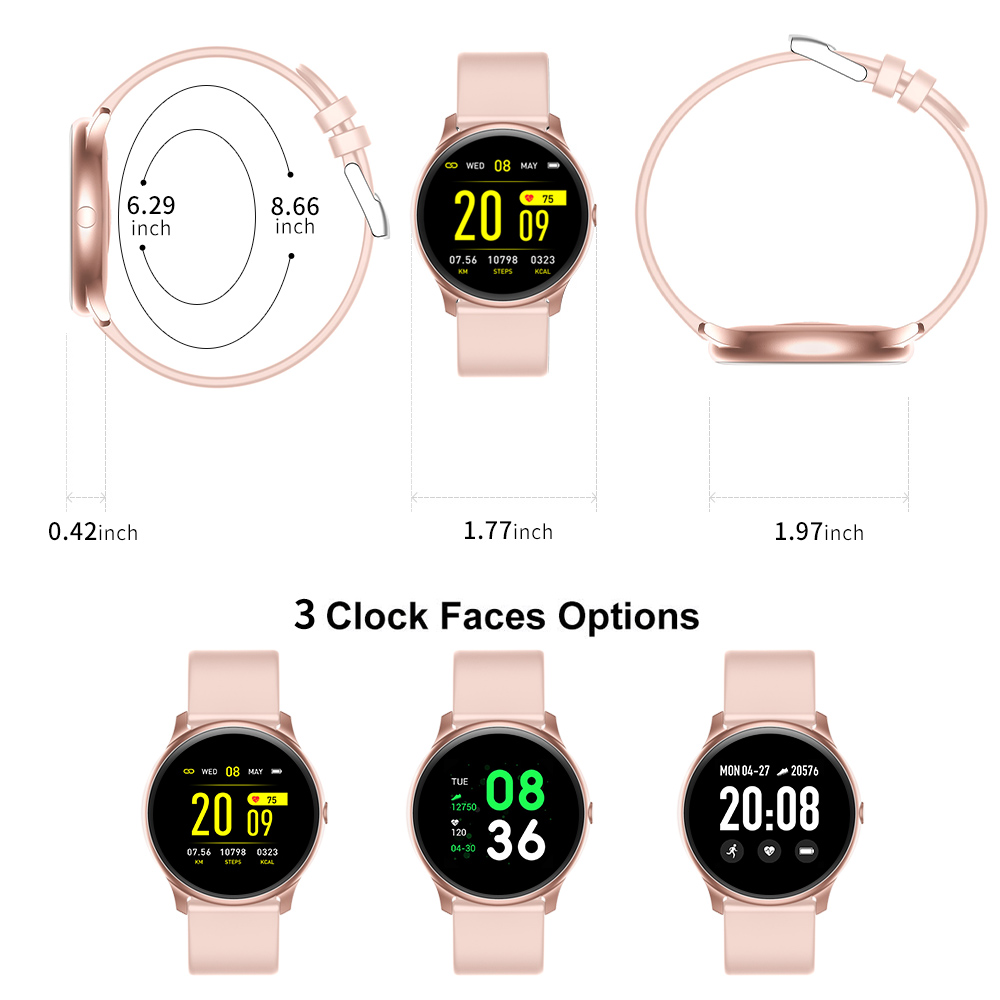 RUNDOING KW19 Women Smart watch Waterproof Blood oxygen Heart rate monitor Men sport smartwatch for IOS and Android