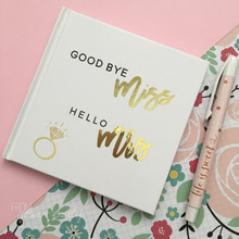 Gold Ring foil Wedding Guestbook Custom Miss to Mrs Guest Book Alternative Planner Book guest sign in book hen party menory book