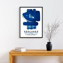 Affiche d'exposition d'art de peintre français Pierre Soulages, peinture bleue abstraite sur toile, décor mural de galerie de musée