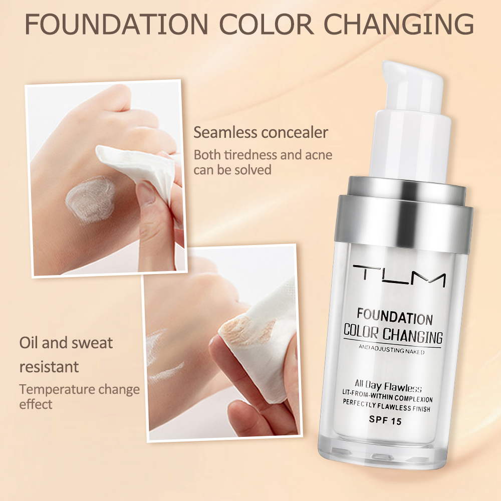 TLM 30ml Color Changing Liquid Foundation Oil-control Concealer Cream  Hydrating Long Lasting Makeup Foundation TSLM1