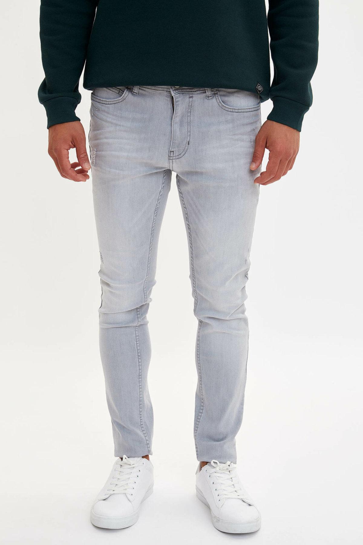DeFacto Fashion Men's Wash Light Blue Stretch Jeans Men Elastic Cotton Denim Pants Loose Trousers New Menswear New -L3989AZ19AU